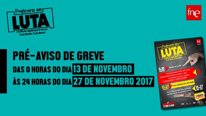 PRÉ-AVISO DE GREVE  DAS 0 HORAS DO DIA 13 DE NOVEMBRO ÀS  24 HORAS DO DIA 27 DE NOVEMBRO DE 2017