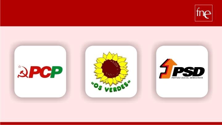 PCP, Os Verdes e PSD recebem FNE na Assembleia da República