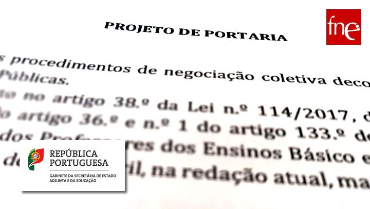 Projeto de portaria que define os termos e a forma em que se processa o reposicionamento dos Professores retidos no 1º escalão da carreira docente.