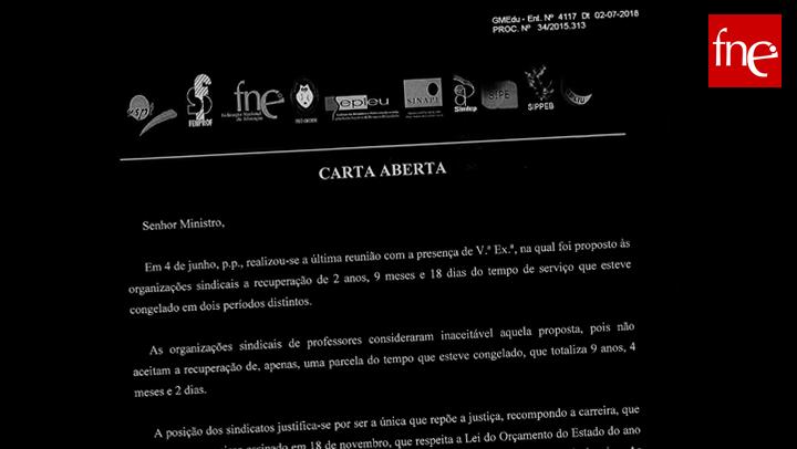 Carta aberta entregue no Ministério da Educação