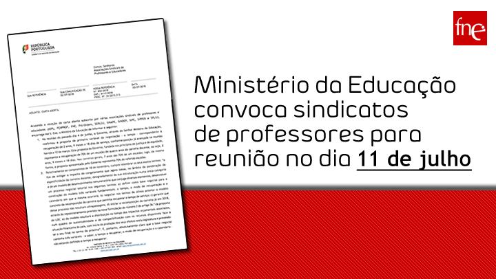 Ministério da Educação convoca organizações sindicais para reunião no dia 11 de julho