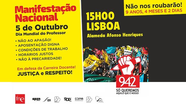 Manifestação Nacional: Professores vão mostrar indignação a uma só voz