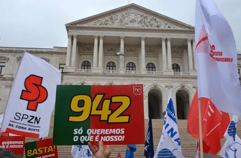 FNE em concentração no exterior da Assembleia da República a 16 de abril